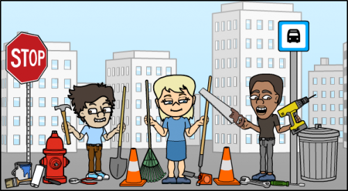 New street and tool props on Bitstrips for Schools